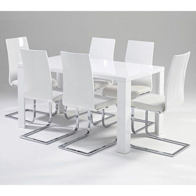 Home Design : Delightful White Gloss Dining Table And 6 Chairs For Most Current White Gloss Dining Room Tables (Image 9 of 20)