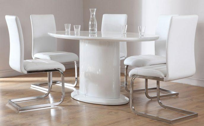 Home Design : Fancy White Gloss Dining Table And 6 Chairs Curva Pertaining To Recent White Gloss Dining Sets (Image 8 of 20)