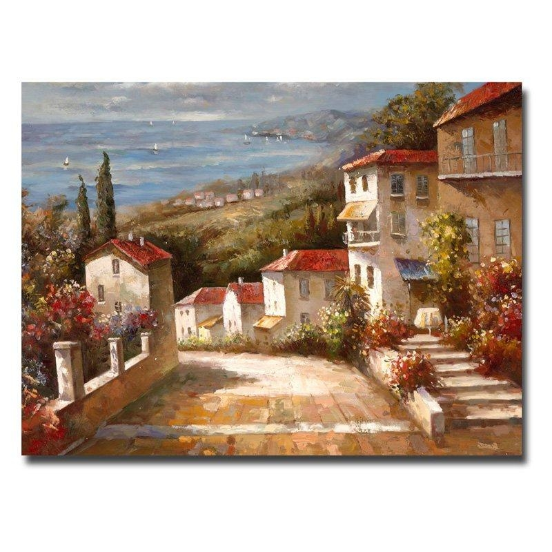 Home In Tuscanyjoval Wrapped Giclee Canvas Print – 48W X 36H For Italian Wall Art Prints (Image 3 of 20)