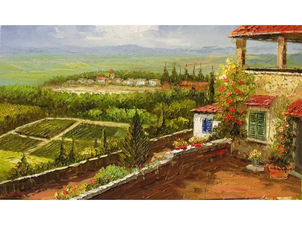 Home Wall Decor Print On Canvas Of Original Landscape Painting Intended For Italian Village Wall Art (Image 9 of 20)