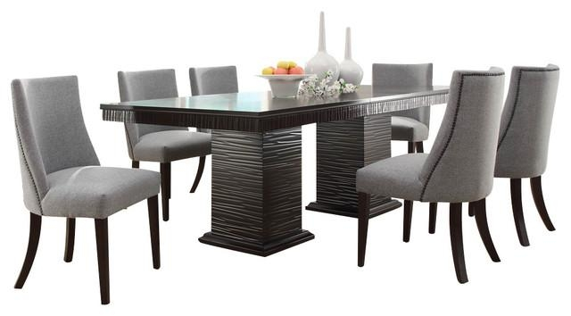 Homelegance Chicago 7 Piece Pedestal Dining Room Set In Deep For Newest Dining Sets (View 14 of 20)
