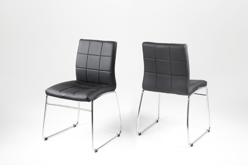 Hot Dining Chair – Black Leather Look With Chrome Legs Intended For Most Popular Chrome Leather Dining Chairs (View 3 of 20)