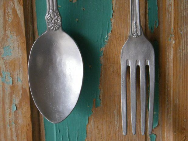 House : Fascinating Eating Utensil Wall Art Fork Spoon Set Wall With Regard To Utensil Wall Art (Image 11 of 20)