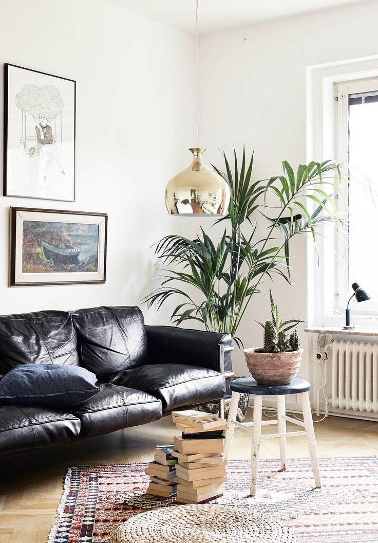 How To Decorate A Living Room With A Black Leather Sofa – Decoholic With Regard To Black Sofas Decors (Image 18 of 20)