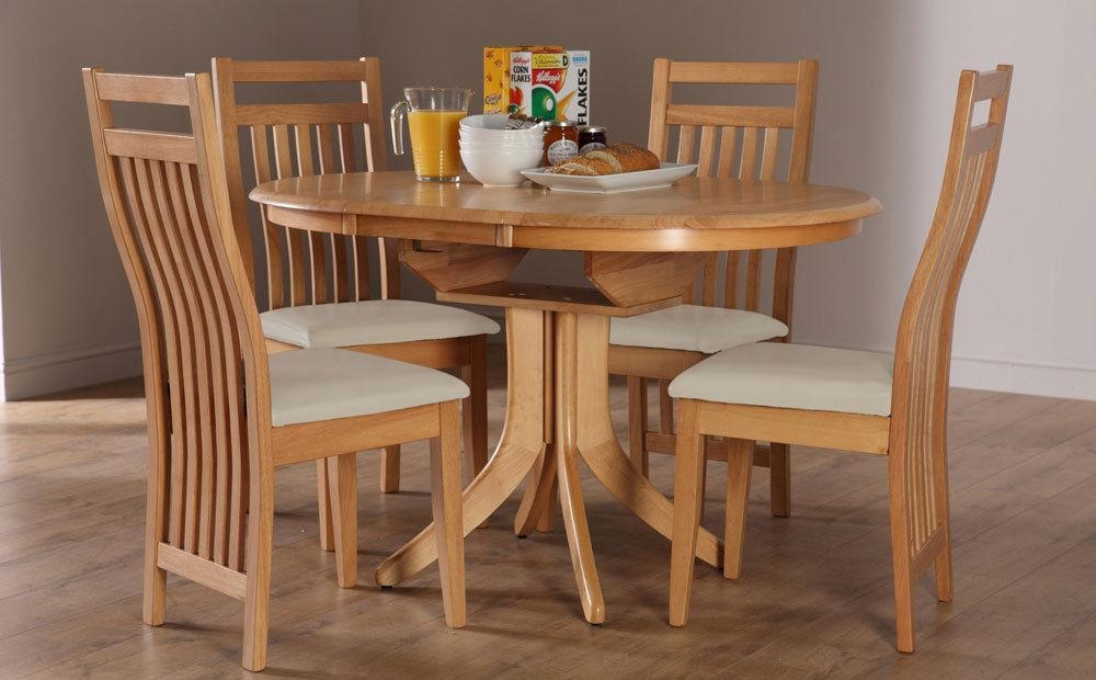Hudson & Bali Round Extending Oak Dining Table And 4 6 Chairs Set Within Current Bali Dining Sets (Image 15 of 20)