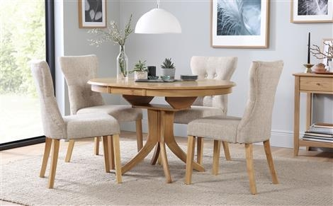 Hudson Round Extending Dining Table & 4 Chairs Set (Bewley Oatmeal For Oak Extending Dining Tables And 4 Chairs (View 14 of 20)