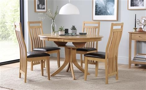 Hudson Round Extending Dining Table And 4 Bali Chairs Set Only Within Hudson Round Dining Tables (Image 11 of 20)