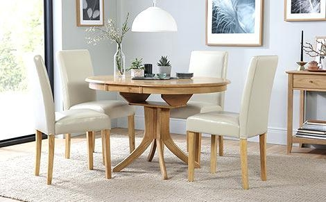 Hudson Round Extending Dining Table And 4 Chairs Set City Ivory Inside Hudson Round Dining Tables (Image 12 of 20)