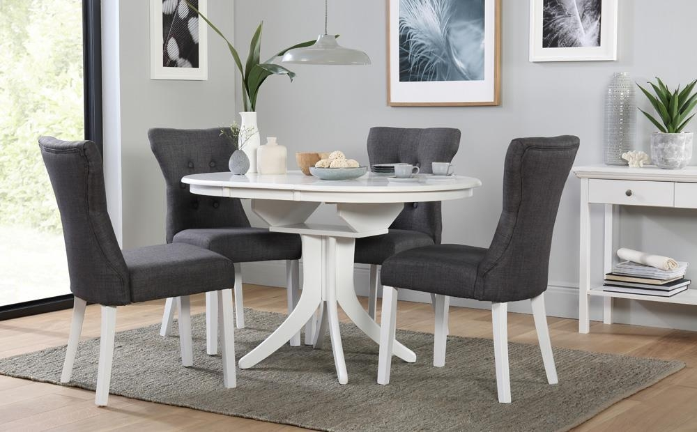 Hudson Round White Extending Dining Table With 4 Bewley Slate Inside Hudson Round Dining Tables (Image 14 of 20)