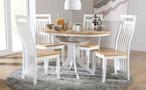 Hudson White Two Tone Round Extending Furniture Choice Palmer Of Intended For Current Extending Dining Room Tables And Chairs (Image 13 of 20)