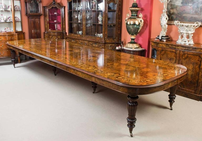 Huge Bespoke Handmade Marquetry Walnut Extending Dining Table 18 Intended For Most Current Extending Dining Sets (Image 13 of 20)