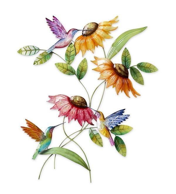 Hummingbird & Sunflower Metal Wall Art | Wind & Weather Inside Metal Sunflower Wall Art (View 10 of 20)