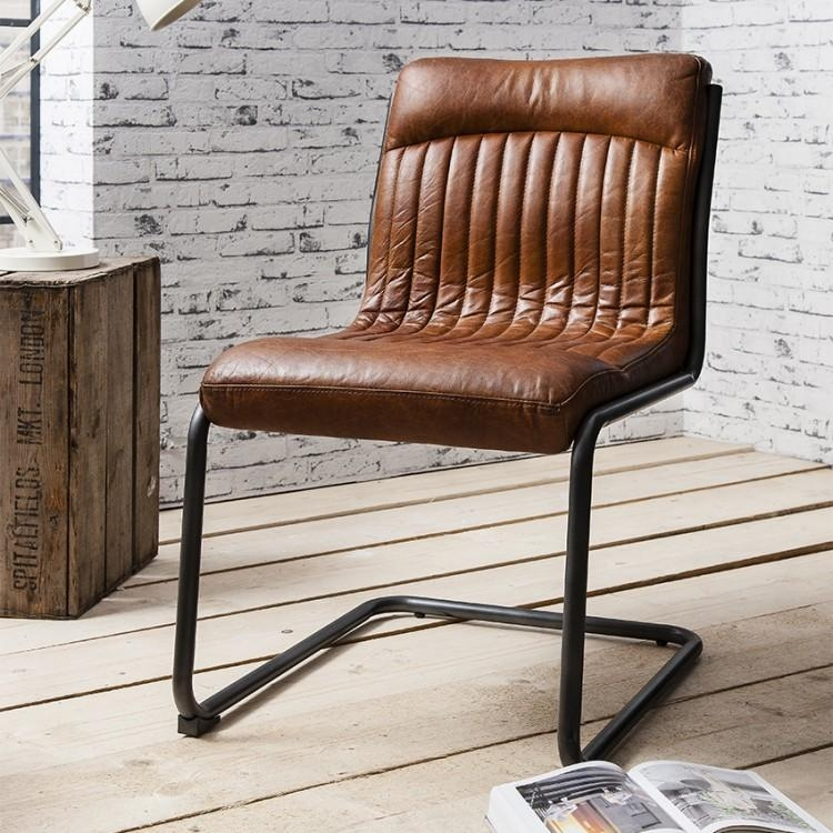 Hutch® – Frank Vintage Real Leather Dining Chair In Real Leather Dining Chairs (Image 8 of 20)