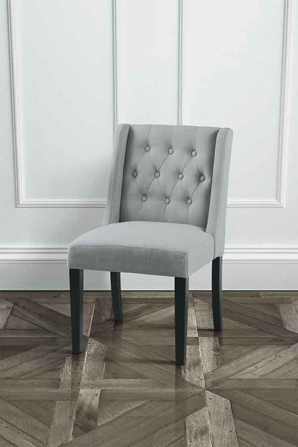 Huxley Grey Wing Button Back Dining Chair With Black Legs – My Throughout Most Up To Date Button Back Dining Chairs (Image 14 of 20)