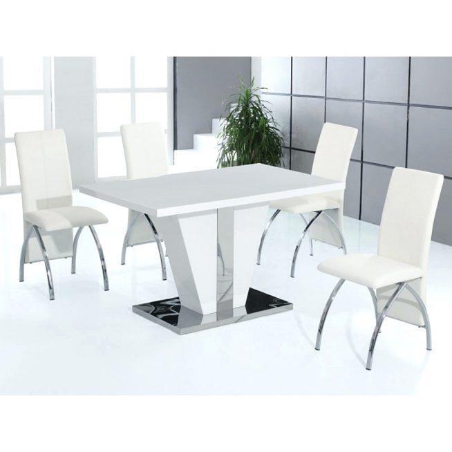 Hygena White Gloss Dining Table 4 Chairs White Gloss Extending In Most Current White Gloss Dining Sets (View 17 of 20)