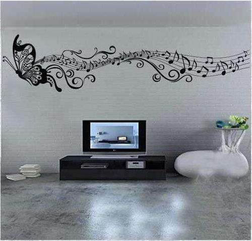 Ihomeart Wall Decor: Music Butterfly Wall Decals Butterfly & Music With Regard To Music Notes Wall Art Decals (Image 8 of 20)