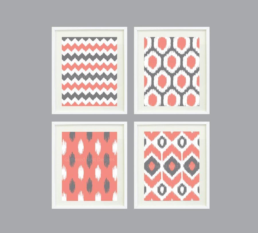 Ikat Pattern Wall Art Print Set Of 4 8X10 Within Pattern Wall Art (View 16 of 20)