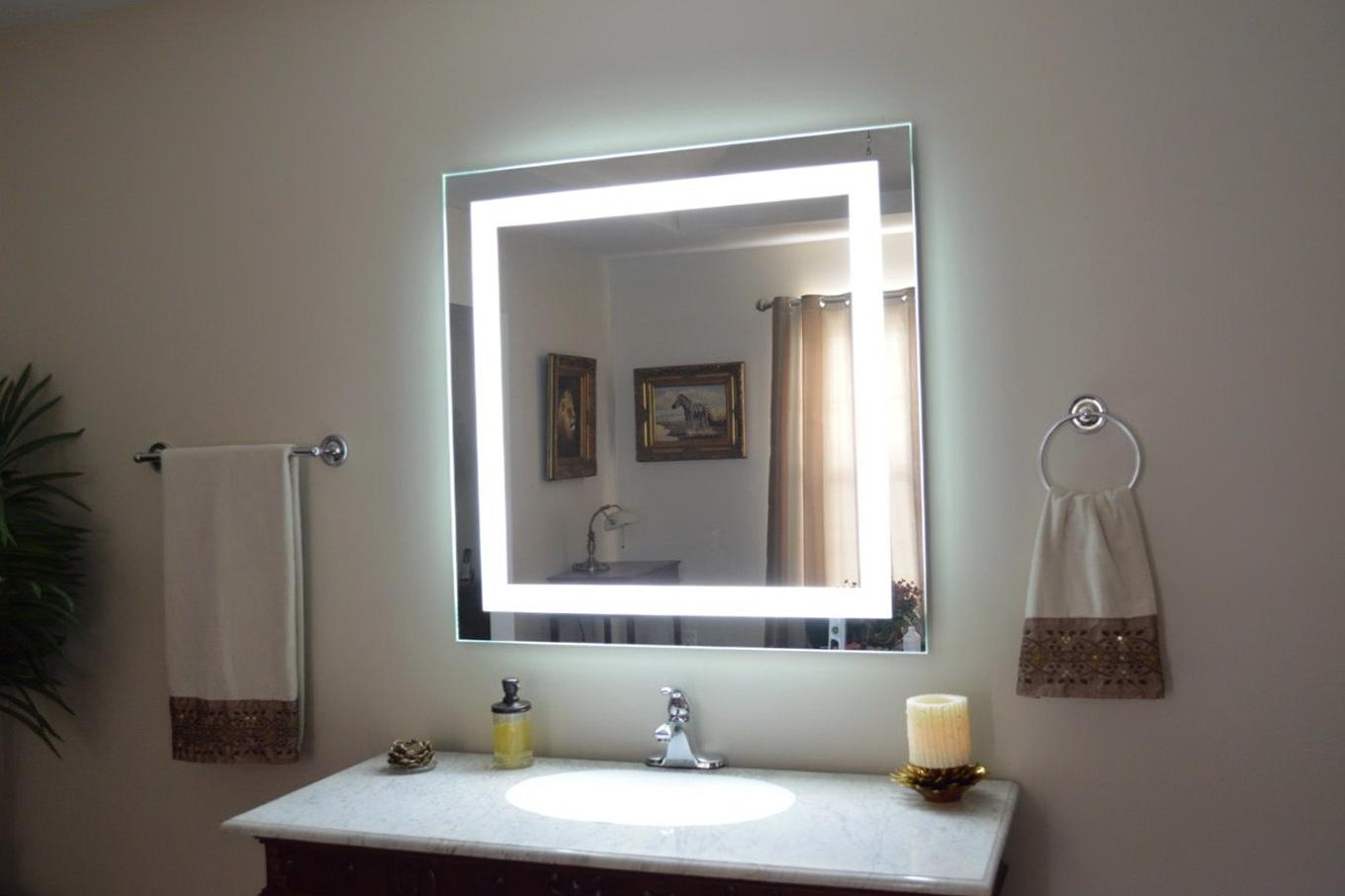 Ikea Bathroom Wall Mirror With Lights Square – Decofurnish Intended For Lights For Bathroom Mirrors (Image 14 of 20)