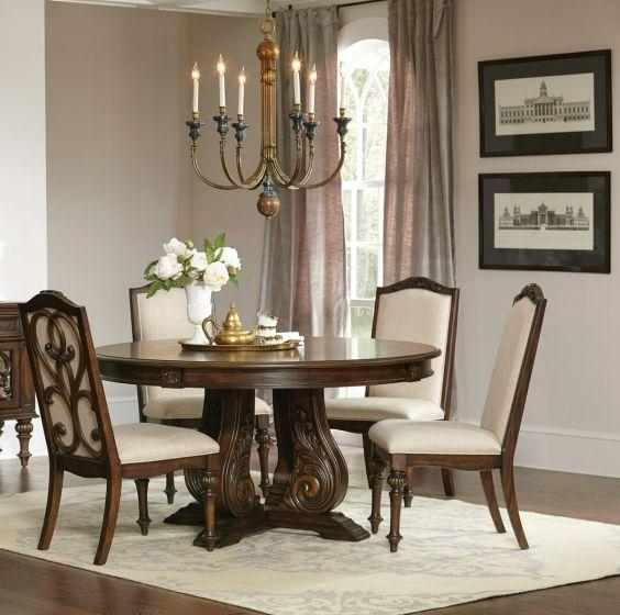 Ilana Antique Java Cream Fabric 5 Piece Round Dining Table Set Pertaining To Most Recent Java Dining Tables (Image 14 of 20)