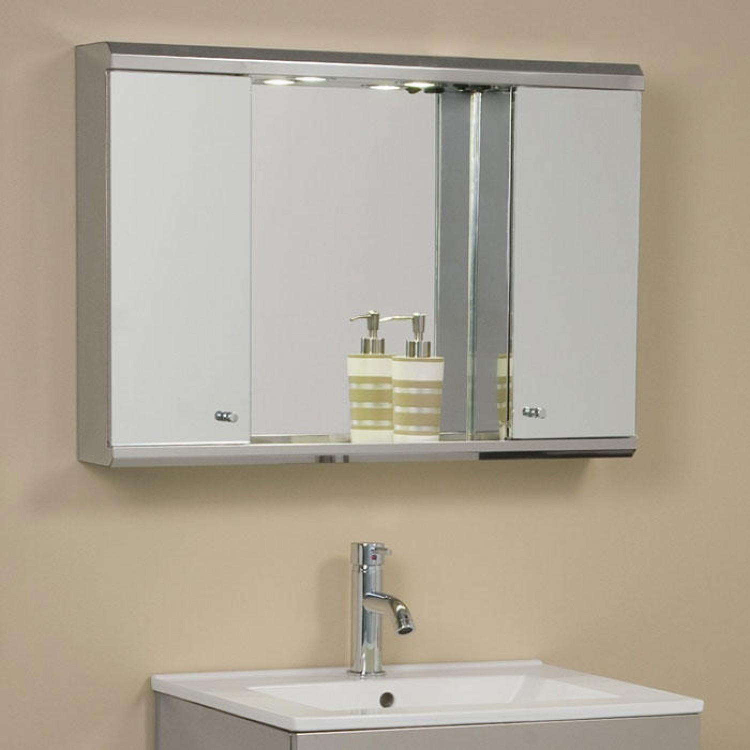 Illumine Dual Stainless Steel Medicine Cabinet With Lighted Mirror Inside Bathroom Medicine Cabinets With Mirrors (Image 11 of 20)