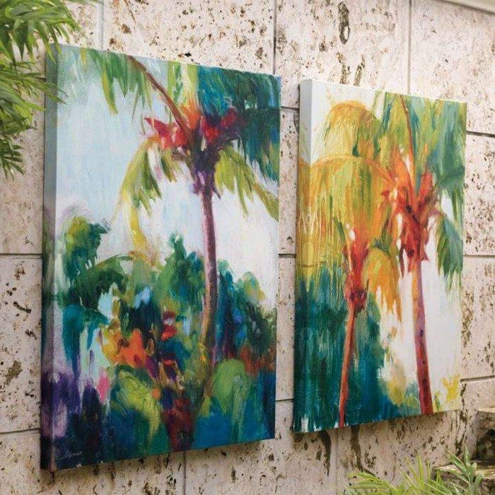 Impressive Backyard With Furniture And Wall Mirrors – Decorative With Tropical Outdoor Wall Art (Photo 8 of 20)