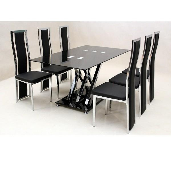 Impressive Dining Table And Chairs Set With Round Glass Dining Within Newest Black Glass Dining Tables 6 Chairs (Image 15 of 20)