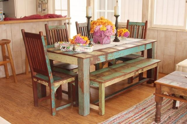 Indian Reclaimed Wood Dining Set – Mediterranean – Dining Room With Regard To Most Current Indian Style Dining Tables (Photo 6 of 20)