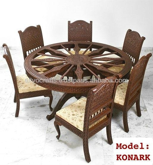 Indian Teak Wood Hand Carved Dining Room Set & Restaurant Inside Indian Wood Dining Tables (Photo 20 of 20)