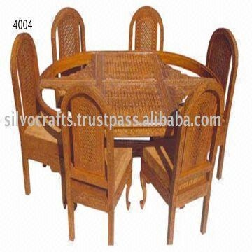 Indian Teak Wood Hand Carved Dining Room Set & Restaurant Intended For Recent Indian Dining Tables And Chairs (Image 14 of 20)