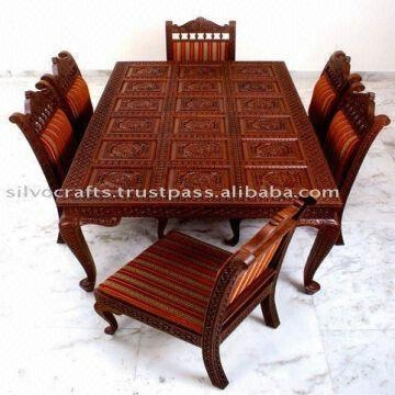 Indian Teak Wood Hand Carved Dining Room Set & Restaurant Regarding Newest Indian Style Dining Tables (View 16 of 20)
