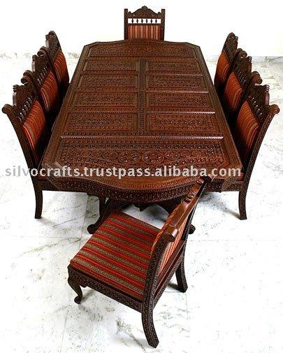 Indian Teak Wood Hand Carved Dining Room Set & Restaurant With Regard To Indian Wood Dining Tables (Image 15 of 20)