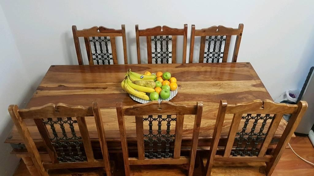 Indian Wood Dining Table And 6 Chairs (Image 16 of 20)