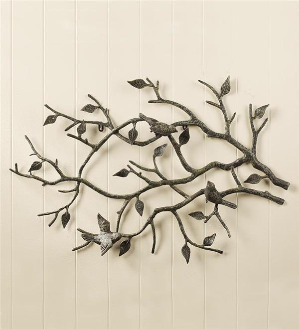 Indoor/outdoor Cast Iron Bird Branch Wall Art | Metal Wall Art Pertaining To Iron Tree Wall Art (Image 10 of 20)