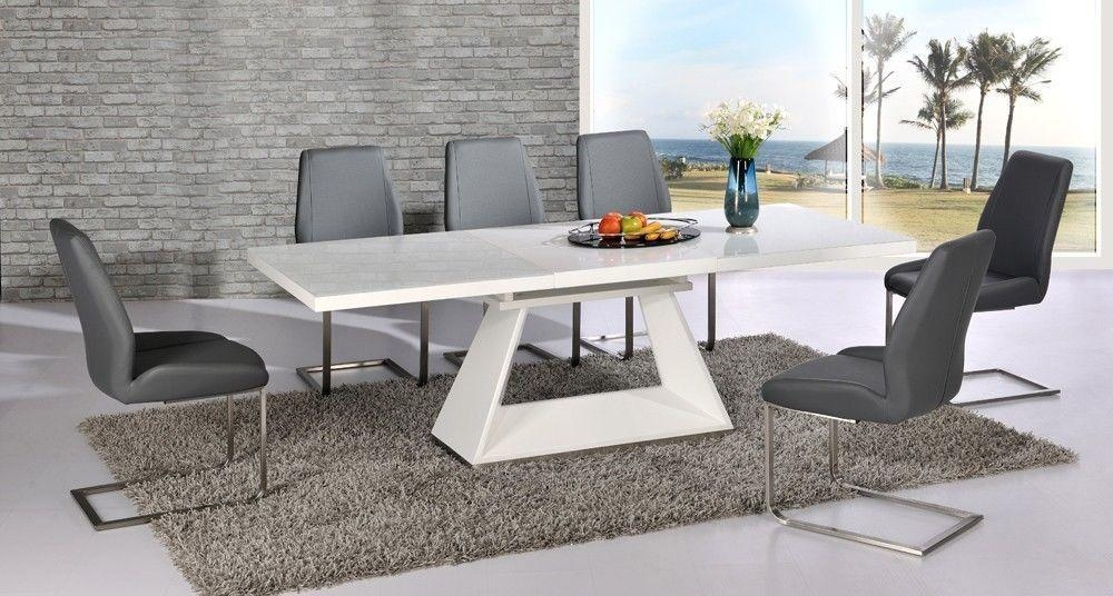 Innovative Extendable Dining Table Set With Amazing Of White Glass In Current Extending Dining Room Tables And Chairs (Image 15 of 20)