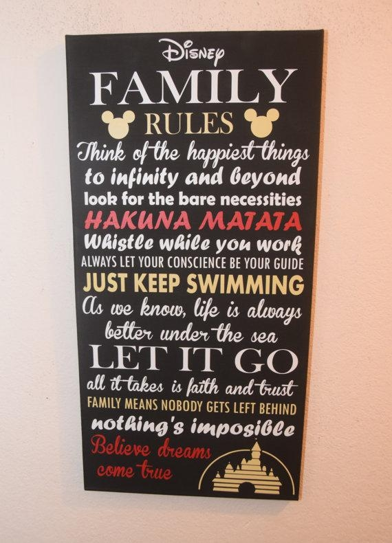 Inspirational Quote Sign Family Rules Sign Unique Disney With Family Rules Canvas Wall Art (View 3 of 20)