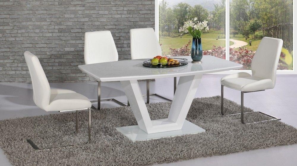Inspiring White Glass Dining Table And 6 Chairs 74 In Rustic Inside White Gloss Dining Tables And 6 Chairs (View 4 of 20)