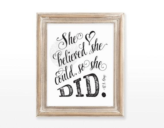 Instant Download She Believed She Could So She Did For She Believed She Could So She Did Wall Art (Image 8 of 20)