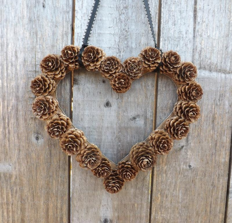Instant Download Wall Decor Diy Heart Shaped Pine Cone Wreath For Pine Cone Wall Art (Photo 10 of 20)