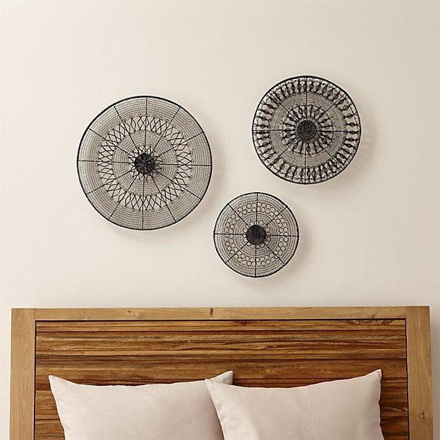 Intricate Circle Metal Wall Art 3 Piece Set | Crate And Barrel With Regard To Wall Art Sets Of 3 (Photo 2 of 20)