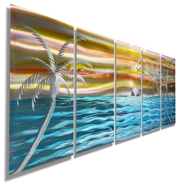 Island, Beach, Tropical Metal Wall Art, Colorful Metal Beach Scene Regarding Caribbean Metal Wall Art (Photo 20 of 20)