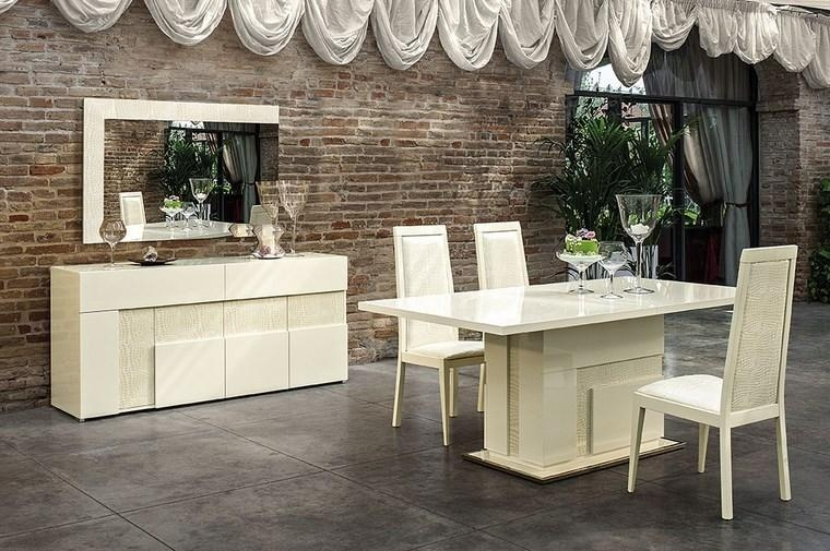 Italian Beige High Gloss Dining Room Furniture Set – Homegenies Within Most Popular Cream High Gloss Dining Tables (Image 15 of 20)