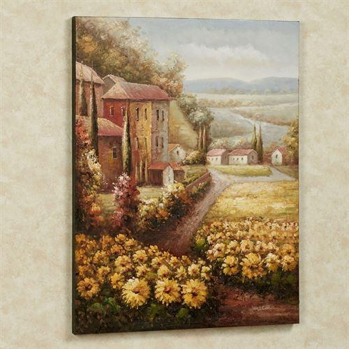 Italian Countryside Sunflower Canvas Wall Art Regarding Italian Wall Art (Image 4 of 20)