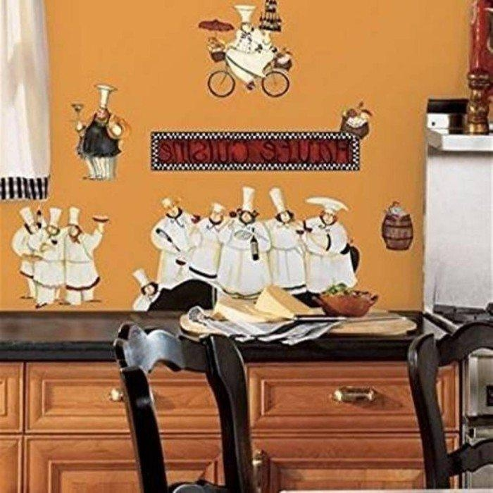 Italian Decor For Kitchen With Chef Fat Wall Decals : Italian Within Italian Bistro Wall Art (Image 14 of 20)