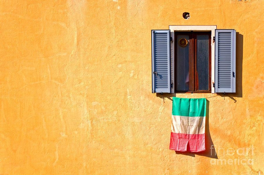 Italian Flag Window And Yellow Wall Photographsilvia Ganora With Regard To Italian Flag Wall Art (Image 14 of 20)