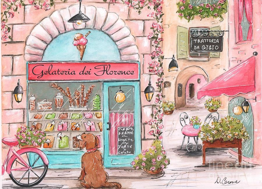 Italian Girl – Gelato Shop, Florence, Italy Street Scene Painting Regarding Italian Nursery Wall Art (View 3 of 20)