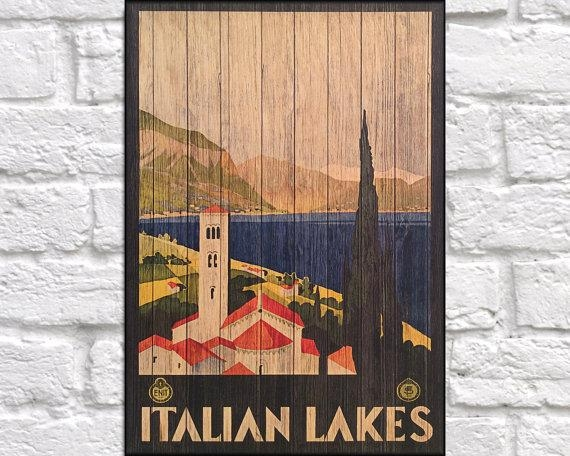Italian Lakes Travel Art Print Wood Wall Art Decor Retro Pertaining To Italian Wood Wall Art (Image 12 of 20)