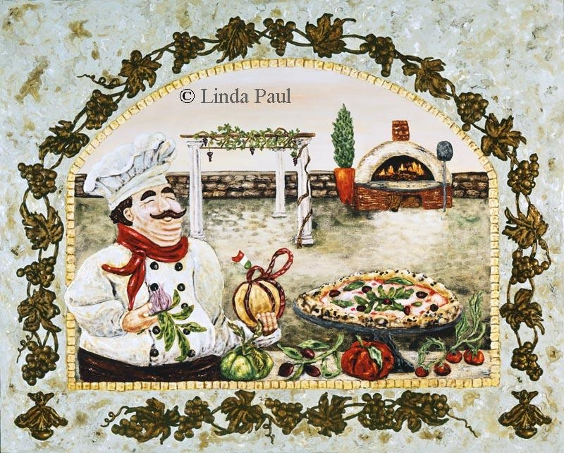 Italian Pizza Kitchen Artwork On Canvas And Tilelinda Paul Throughout Italian Chef Wall Art (Image 14 of 20)