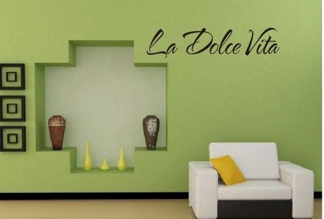 Italian Quote La Dolce Vita Letter Word Room Decor Vinyl Decals Regarding Italian Words Wall Art (Image 12 of 20)