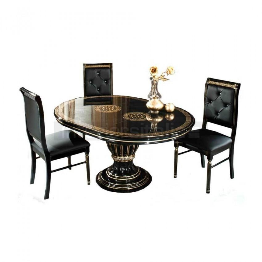 Italian Round Extending Dining Set | Caesar | Sale Regarding Recent Extending Black Dining Tables (View 16 of 20)