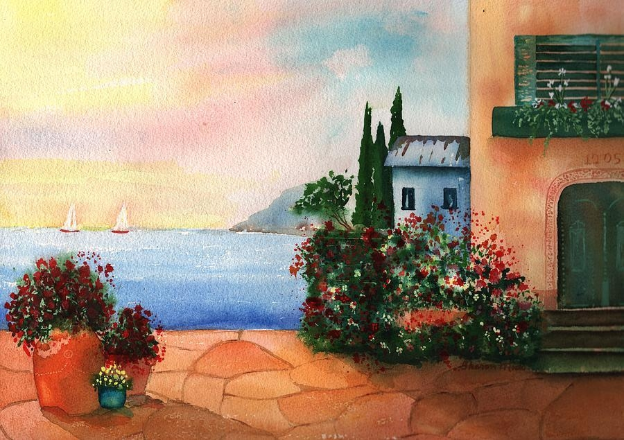 Italian Sunset Villathe Sea Paintingsharon Mick Within Italian Villa Wall Art (Image 13 of 20)